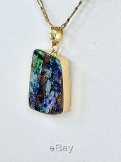 Spectaculaire Fort Bleu Vert Solide Boulder Opal Pendentif Or 18 Carats Val 7890 $