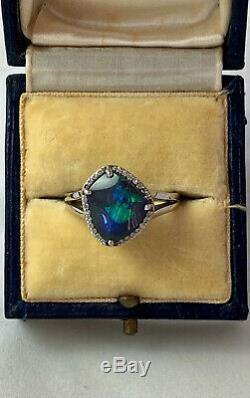 Spectaculaire Fort Diamant Bleu Vert Noir Plein D'opale Bague Or 18 Carats Val 9790 $