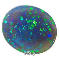 Spectaculaire Mousquetaire Bleu-vert 5.56ct 13x11mm Solide Noir Opal Lightning Ridge