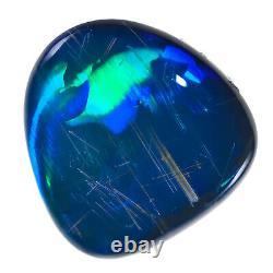 Spectaculaire Saphir Bleu Vert 2.39ct 10x9mm Solid Black Opal Lightning Ridge