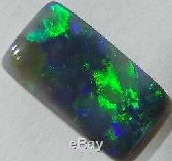 Splendide 5.2ct Solid Black Opal Vert & Bleu Coussin Lightning Ridge