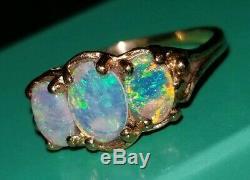 Splendide & Colourful 2ct Feu Opal Trio Solid Bague Or Jaune Sz7