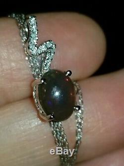 Splendide Designer 14k Or Massif Éthiopien Black Opal & Diamond Necklace Drop