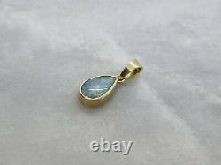 Stupéfiant Massif 18ct Or Jaune Pendentif Pendentif Poire Feu Bleu Vert Précieux Opale