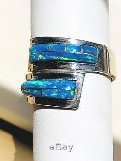 Superbe Bague Opal'wrap Around Finger 'avec Bague De Dérivation Bleue-verte 9