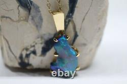 Superbe Handmade 18ct Yellow Gold & Solid Opal Carved Gem Pendentif 26mm X 13mm