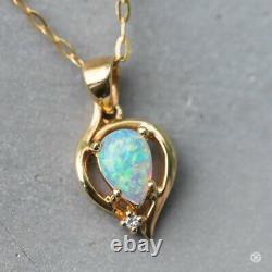 Superbe Heart Diamond & Australian Solid Opal Pendentif Collier 14k Yellow Gold
