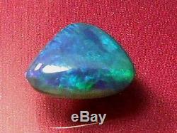 Superbe Motif De Couleur De Paille Bleu-vert Naturel Noir Opale Solide 2.2 Carat