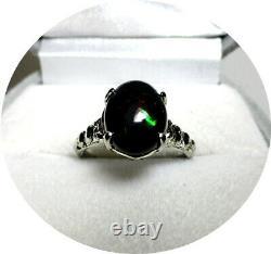 Sympa! Solid Black Australian Opal Ring Reds-green Lights Vintage 14k W. Go