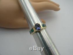 Sz 7.5 Bague En Or Jaune 14 Carats Ovale Avec Une Tanzanite Pourpre Incrustée D'opale Bleue Et Verte