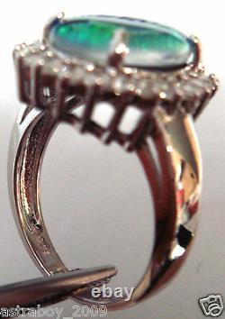 Taille Opale 14x10mm Véritable Noir Triplet Opale Anneau Solide Sterling Silver Free Box