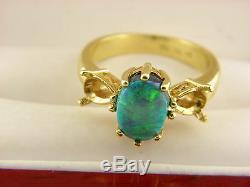 Taj Bague De Montage En Opale Noire Australienne Naturelle En Or Jaune Massif 18k