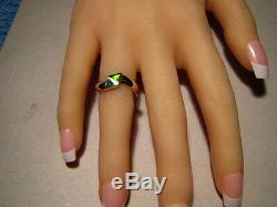 Triangle Opal Inlay Anneau 3,2 Grammes Solide 14 K Or Jaune Taille 7 1/4