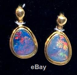 Two Assorti Pendentifs Pour Dames En Or 14k Massif Avec Opale Noire Australian Assortie Twin Lot