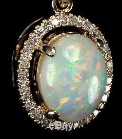 Vente! Pendentif D'opale Solide Australien À Diamants, Or 14k, 10x8 MM 2.19
