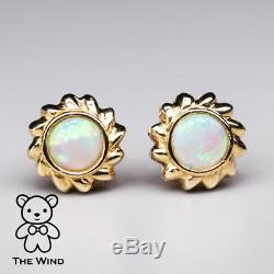 Vente! Round Design Fleur Australienne Solide Opale Boucles D'oreilles En Or Jaune 14k