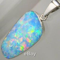 Véritable Pendentif D'opale Naturelle Australienne En Argent Massif 925 Serti D'une Brillante Pierre Précieuse A03