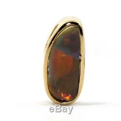 Véritable Solid Black Opal Avec Or Jaune 18 Carats Pendentif + Chaîne Gratuite Rouge