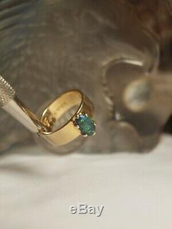 Véritable / Solide 18ct Or Jaune Mesdames Naturel Bolder Bague Opale