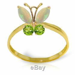 Véritables Opales Et Peridot Gems Papillon Anneau De 14k Solide. Jaune, Blanc, Or Rose