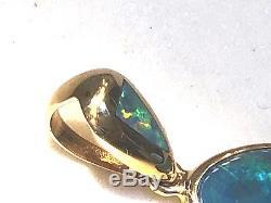 Vert Bleu Australian Opale Solide En Or 14k Pendentif Brillante Dames 100% Véritable