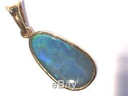 Vert Bleu Australian Opale Solide En Or 14k Pendentif Éclair Lumineux Éclair Dames