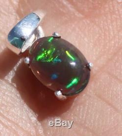 Vert Bleu Opale Argent Massif 925 Sterling Rhodium Finition Pendentif, Nouveau