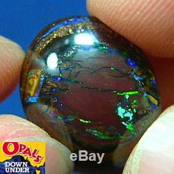 Vidéo Opale Boulder Opale Australienne Solide Violette Turquoise Vert Violet 11ct