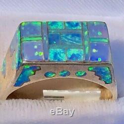 Vieux Vintage Vert Noir Bleu Hommes Opale Bague Sterling Solide 10,5 MI Siècle