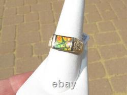 Vintage 14kt Texturé Or Et Véritable Solide Rouge Et Vert Opale Ammolite Ring, Sz 9