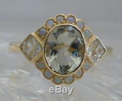 Vintage Améthyste Verte Et Opal Ring, 9ct 9k Or Massif Victorienne Femmes R30