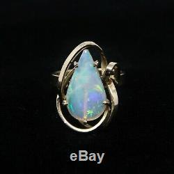 Vintage Anglais Bespoke 9ct Or Massif 375 Teardrop Opale De Feu Anneau Taille M