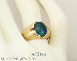 Vintage Lumineux Bleu Vert 1960 Naturel Noir Opale 10k Solide Anneau Dorées