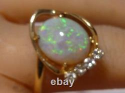 Vintage Vert Opal 14k Anneau En Or Massif 0.16 Ct Diamant Opal Domaine Fabriqué À La Main