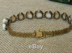 Vtg Antique Naturel Noir Australien Arc-en-bracelet Opale Solide Or 9 Ct