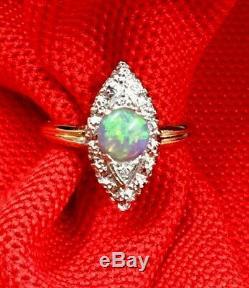 Vtg. Bague En Or Massif 14 K Avec Opale Verte Et Diamants, Excellent 6,25
