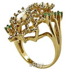Vtg Emerald & Australian Opal En Or 10k Solide Jaune Bague