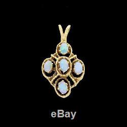 Vtg En Or Jaune 14k Australian Natural Opal Solide Pendentif Feu Vert Belle