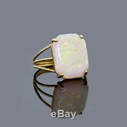 Vtg En Or Jaune 14k Naturel Australien Anneau Solide Opale Verte Et Rouge Taille Feu 6.5
