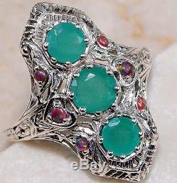 Yo Grandma Lit'l Bague 1 Ct Émeraude Naturelle & Opale En Argent Massif Victorien Antique6